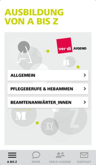 Screenshot der Begrüßungsseite der ver.di Jugend Smartphone App Ausbildung A bis Z